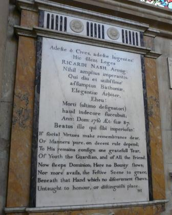 Memorial Plaque at Bath Abbey relating to Richard Nash the notable Master of the Ceremonies